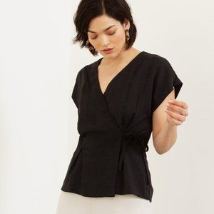Modern Citizen Uma V-Neck Wrap Blouse Size S
